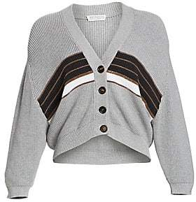 Brunello Cucinelli Women's Cotton Ribbed Stripe Cardigan