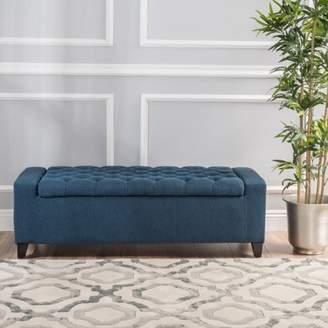 Noble House Euclid Fabric Storage Ottoman, Dark Blue