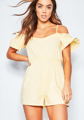 8ab2e9155e at Missy Empire · Missy Empire Missyempire Harrietta Yellow Woven Bardot Frill  Playsuit