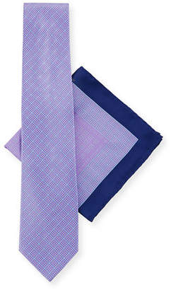 Stefano Ricci Large-Check Tie & Pocket Square Set