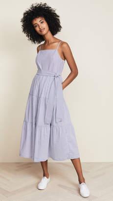 ENGLISH FACTORY Shirred Midi Dress with Ribbon