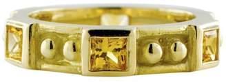 Judith Ripka 18K Yellow Gold Bezel Set Princess Cut 1.50 Ct Citrine Size 6 Ring