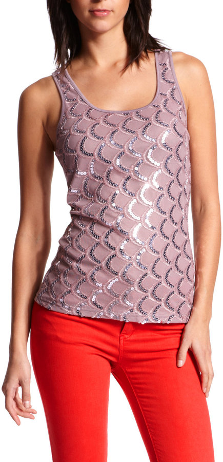 Scalloped Sequin Front Tank