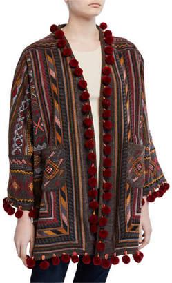 Johnny Was Plus Size Zola Embroidered Pompom Kimono