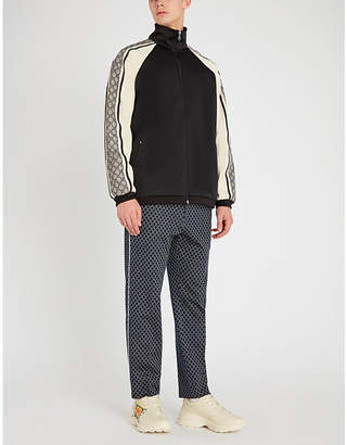 Gucci Printed-sleeve stretch-jersey and shell jacket