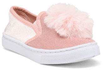Girls Faux Fur Pom Pom Velvet Sneakers