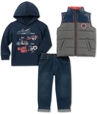 Kids Headquarters Little Boys Blast Off 3-Pc. Hoodie, Jeans & Vest Set
