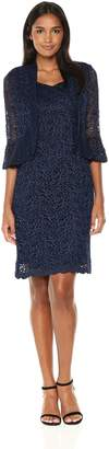 R & M Richards R&M Richards Women's Two Piece Funnel Ruffle Lace Jacket Dress Missy