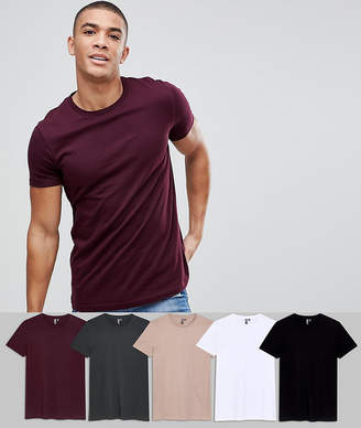 Asos DESIGN crew neck t-shirt 5 pack SAVE