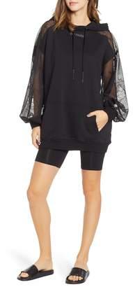 Ivy Park R) Distressed Mesh Sleeve Hoodie Dress