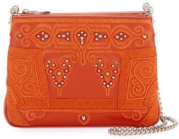 Christian Louboutin Christian Louboutin Triloubi Large Markesa Triple-Gusset Embroidered Shoulder Bag, Orange