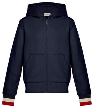 Moncler Hooded Zip-Up Cardigan w/ Tricolor Cuffs, Navy, Size 4-6