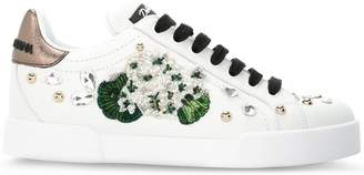 Dolce & Gabbana white geranium embroidered Portofino sneakers