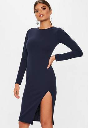 Missguided Navy Long Sleeve Slit Midi Dress