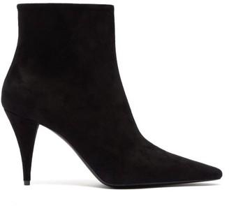 Saint Laurent Kiki Cone Heel Suede Ankle Boots - Womens - Black