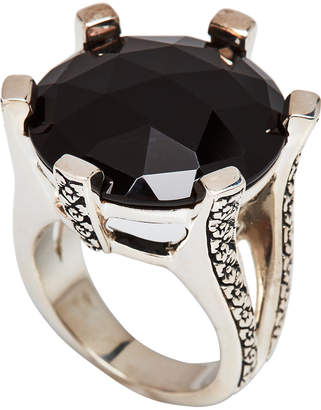 Stephen Dweck Sterling Silver & Black Agate Ring Size 7