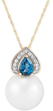 """Honora Cultured White Ming Pearl (13mm), Diamond (1/10 ct. t.w.) & London Blue Topaz (7/8 ct. t.w.) 18"""" Pendant Necklace in 14k Gold"""