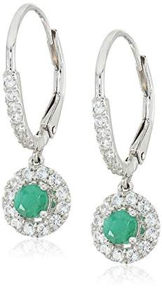 Sterling Silver Emerald and Created White Sapphire Dangle Earrings