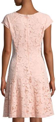 Chetta B Cap-Sleeve Lace A-Line Dress