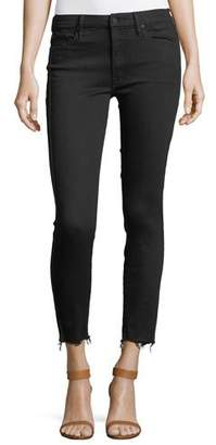 Mother Looker High-Waist Ankle Fray Skinny-Leg Jeans w/ Racing Stripes