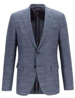 BOSS Hugo Slim-fit jacket in a herringbone virgin-wool 36R Open Blue