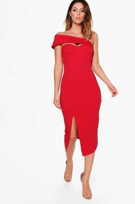 boohoo Shoulder Strap Detail Midi Dress