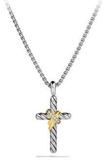 David Yurman X Cross with Diamonds and Gold on Chain $495 thestylecure.com