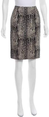 Giambattista Valli Leopard Print Wool Skirt