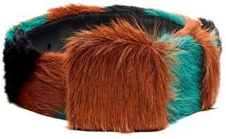 Prada Tri-colour striped calf-hair belt