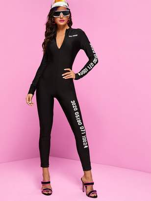 Shein Zip Front Slogan and Number Print Unitard Jumpsuit