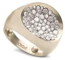 Antonini Matte 18K White Gold Matera Small Pavé Silvermist Diamond Ring