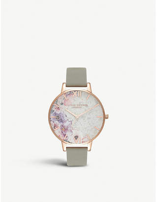 Olivia Burton OB16SP04 Collectables Semi-precious Big Dial rose-gold and leather watch