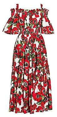 Dolce & Gabbana Dolce& Gabbana Dolce& Gabbana Women's Smocked Cold-Shoulder Midi Fit-And-Flare Dress