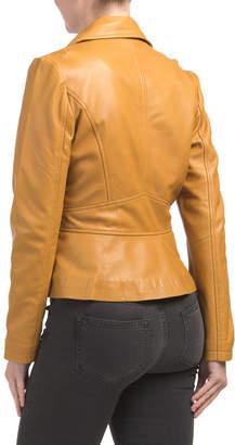 Genuine Leather Asymmetrical Zip Jacket