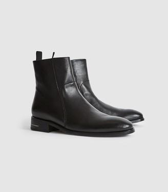 Dexter - Leather Zip Up Boots in Black
