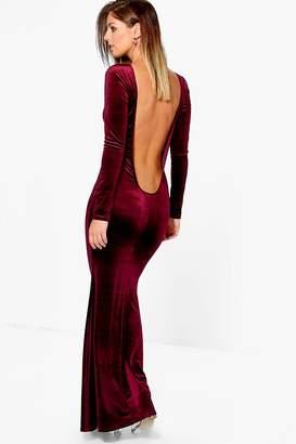 boohoo Velvet Low Back Fish Tail Maxi Dress