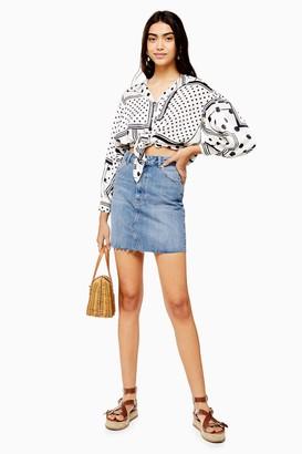 Topshop TALL Mid Blue Denim Mini Skirt