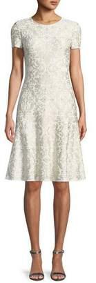 St. John Gold-Leaf Brocade Short-Sleeve Flare Dress