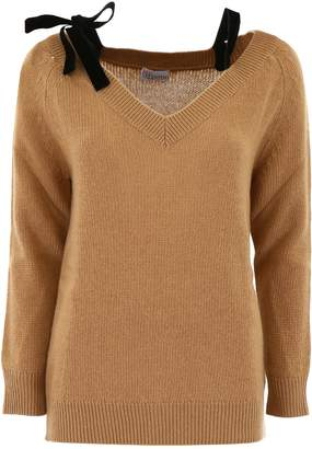 RED Valentino Knit Top With Velvet Bows