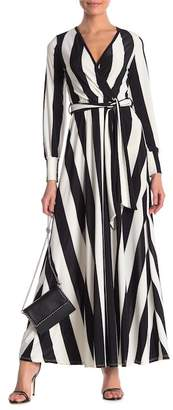 Couture Go Long Sleeve Cross-Over Tie Waist Maxi Dress