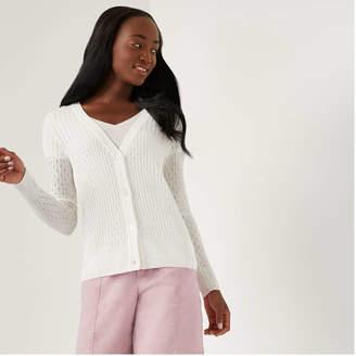 Joe Fresh Women's Pointelle Cardi, Pearl White (Size XL)