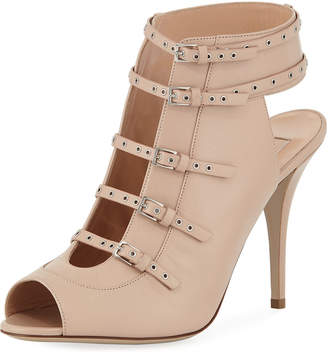 Valentino Peep-Toe Grommet Buckle-Strap Leather Short Booties