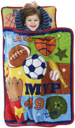 Baby Boom MVP Sports Nap Mat Set - Includes Pillow and Fleece Blanket – Great for Boys Napping at Daycare, Preschool, or Kindergarten - Fits Sleeping Toddlers and Young Children - Kid Friendly Design