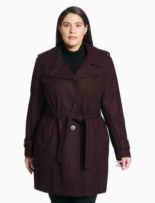 Calvin Klein plus size melton trench coat