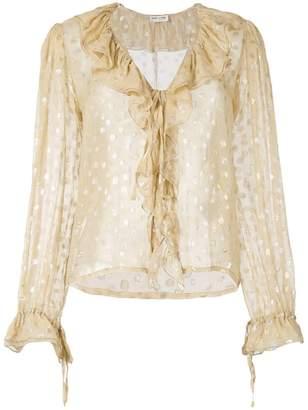 Saint Laurent polka dot sheer ruffle blouse