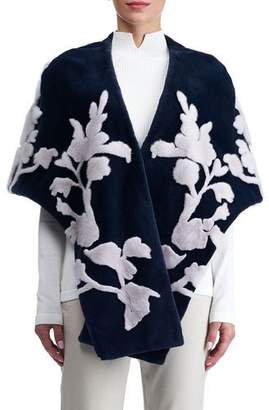 Gorski Mink Stole with Floral Intarsia