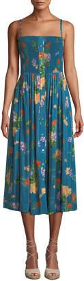 Verandah Smocked Floral-Print Coverup Midi Dress