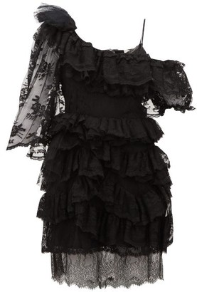 Preen by Thornton Bregazzi Valerie One Shoulder Tiered Lace Dress - Womens - Black