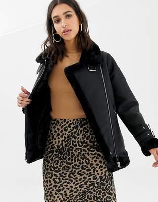 Warehouse faux leather biker jacket in black