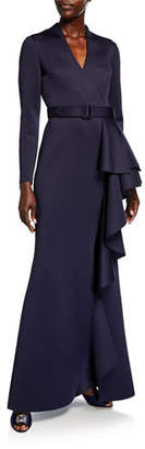 Badgley Mischka Long-Sleeve Scuba Gown with Side Ruffle Detail
